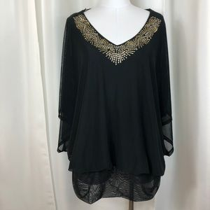 Black and Gold Ashley Stewart Blouse